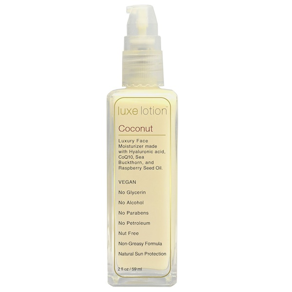 Luxe Beauty, Luxe Lotion, Luxury Face, Coconut, 2 fl oz (59 ml) (Discontinued Item)