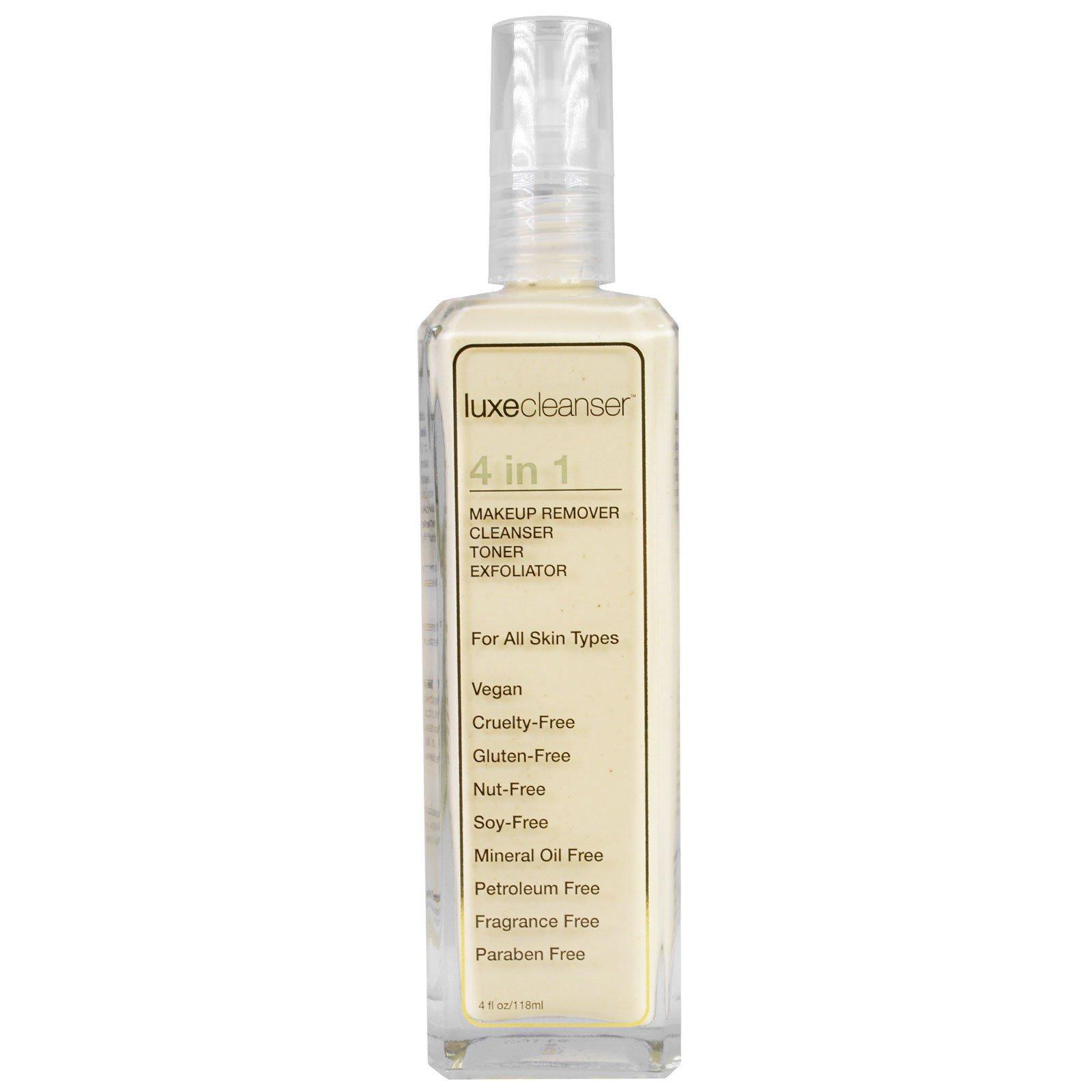 LuxeBeauty, Роскошное чистящее средство, 4-в-1, для снятия макияжа, очищающее, тоник, скраб, 4 жидк. унц. (118 мл)