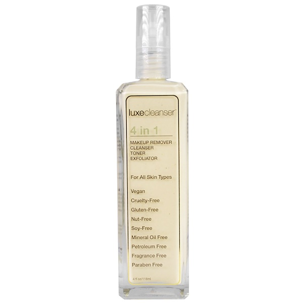 LuxeBeauty, Luxe Cleanser, 4 in 1, Makeup Remover, Cleanser, Toner, Exfoliator, 4 fl oz (118 ml) (Discontinued Item)