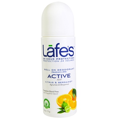 Lafe's Natural Body Care Roll On Deodorant,活性,柑橘和佛手柑,2.5盎司(71克)