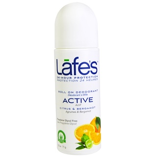 Lafe's Natural Bodycare, Roll On Deodorant, Active, Ctirus & Bergamot, 2.5 oz (71 g)