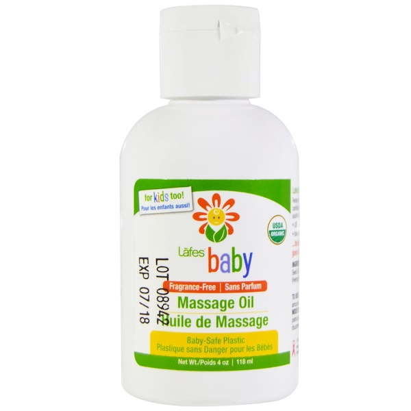 Lafe's Natural Body Care, Baby, детское массажное масло, без отдушек, 4 унции (118 мл) (Discontinued Item)