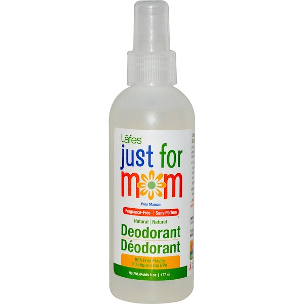 Lafe's Natural Body Care, Organic Just For Mom Deodorant Spray, Fragrance-Free, 6 oz (177 ml) (Discontinued Item)