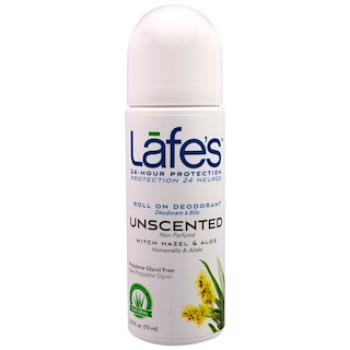 Lafe's Natural Body Care, Roll On Deodorant, Unscented, 2.5 oz (73 ml)