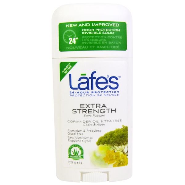 Lafe's Natural Body Care, Odor Protection Invisible Solid, Coriander Oil & Tea Tree, 2.5 oz (63 g) (Discontinued Item)