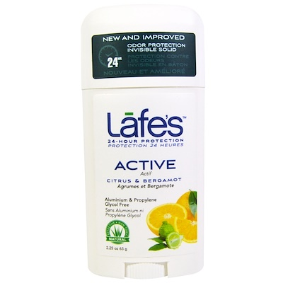 Lafe's Natural Body Care 活性,防異味無形固體,柑橘和佛手柑,2.25 oz (63 g)