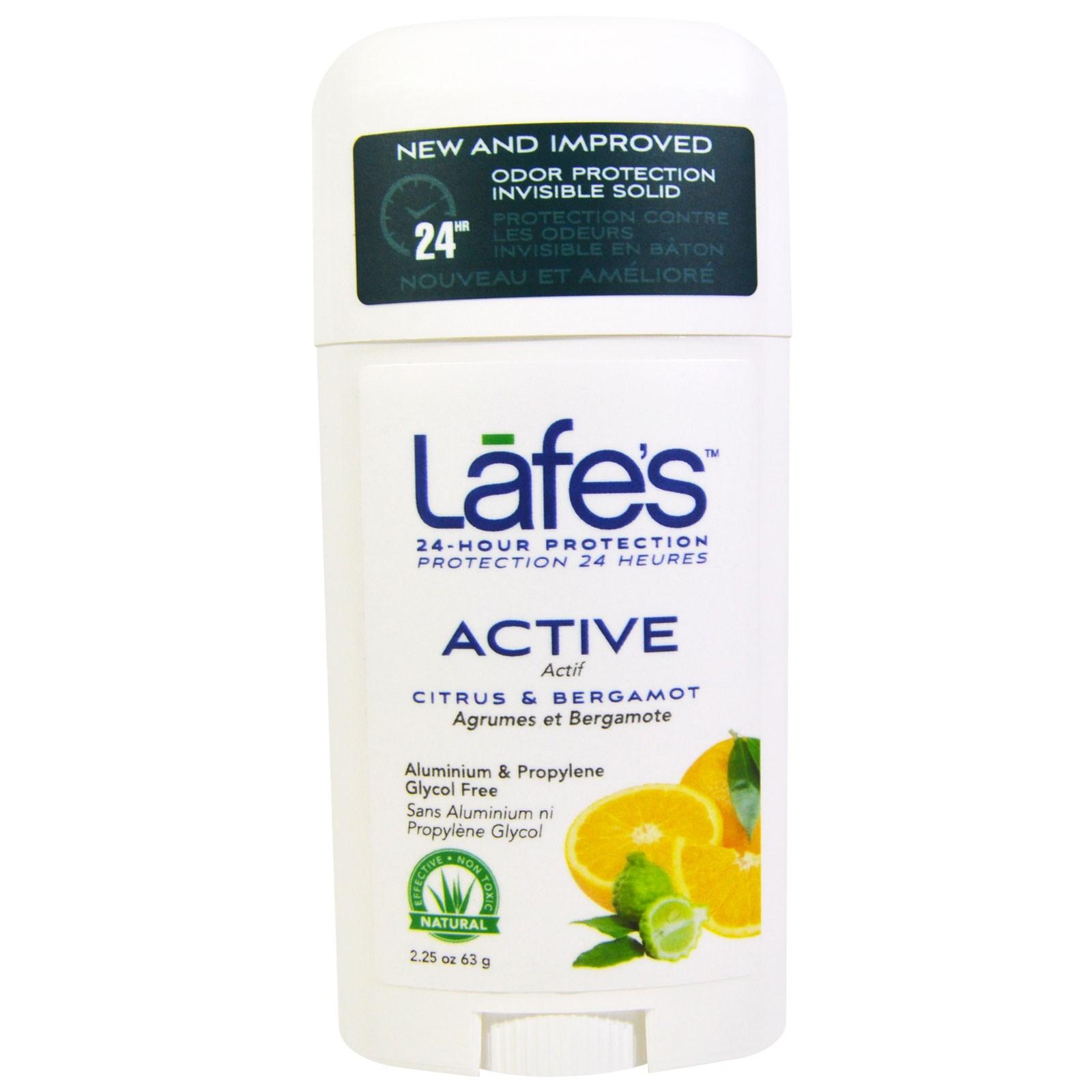 Lafe's Natural Body Care, Твердый дезодорант, активная невидимая защита от запаха, цитрус и бергамот, 63 г