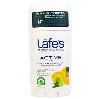Lafe's Natural Bodycare, Active, Odor Protection Invisible Solid, Citrus & Bergamot, 2.25 oz (63 g)