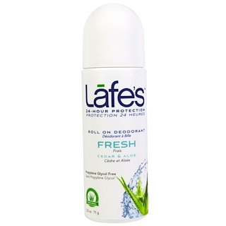 Lafe's Natural Body Care, Roll On Deodorant, Fresh, Cedar & Aloe, 2.5 oz (71 g)