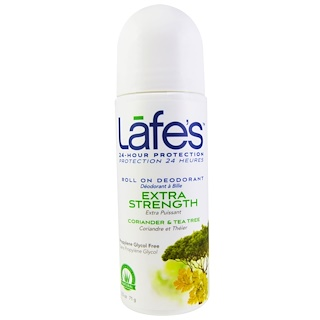 Lafe's Natural Body Care, Roll On Deodorant, Extra Stength, Coriander & Tea Tree, 2.5 oz (71 g)