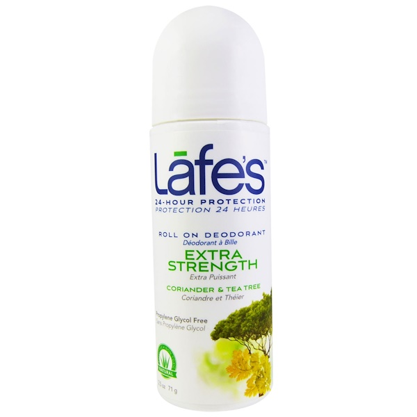 Lafe's Natural Bodycare, Roll On Deodorant, Extra Stength, Coriander & Tea Tree, 2.5 oz (71 g) (Discontinued Item)