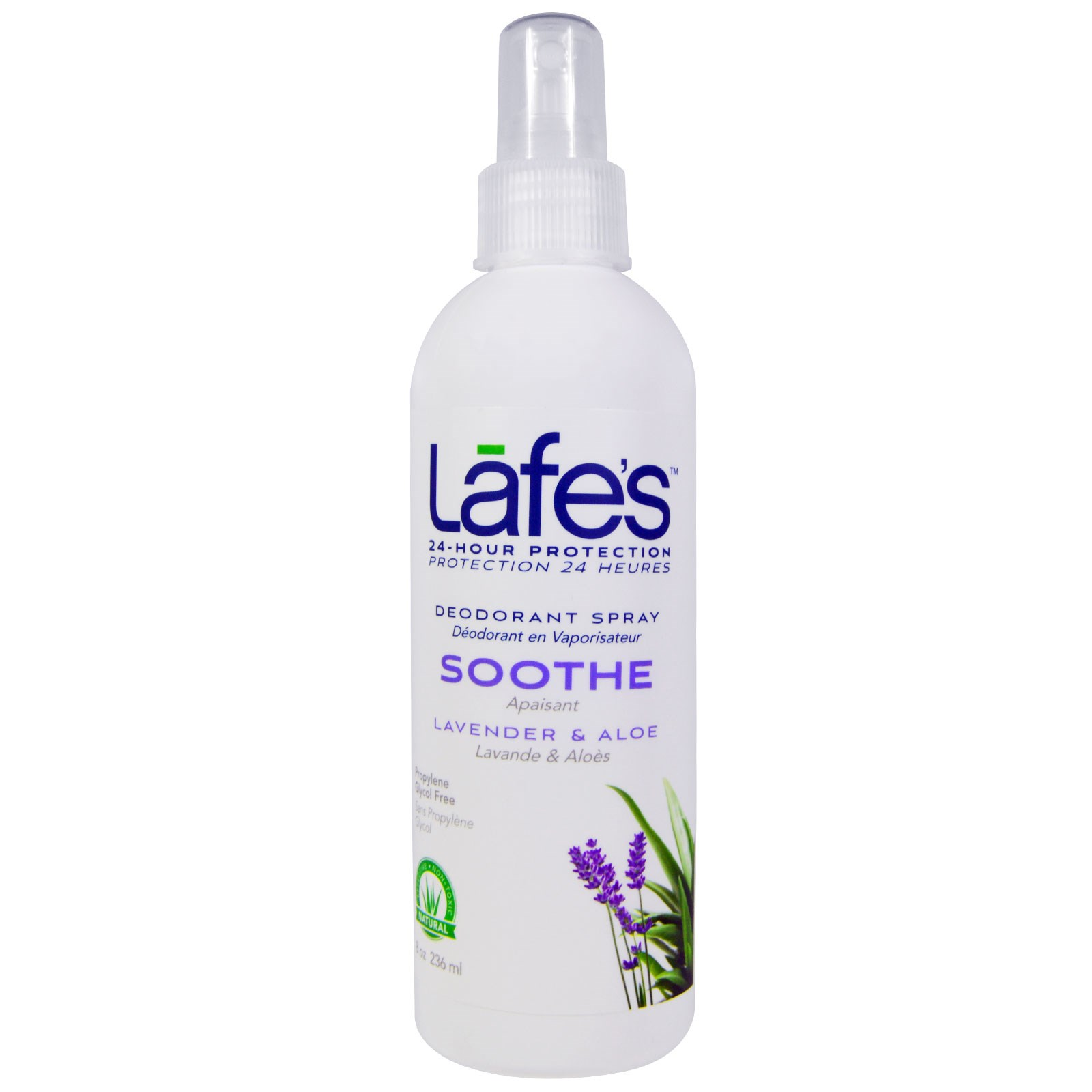 Lafe's Natural Body Care, Дезодорант-спрей, смягчающий, лаванда и алоэ, 236 мл