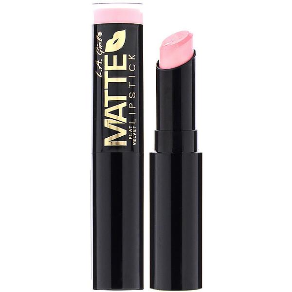 L.A. Girl, Matte Flat Velvet Lipstick, Carried Away, 0.10 oz (3 g) (Discontinued Item)