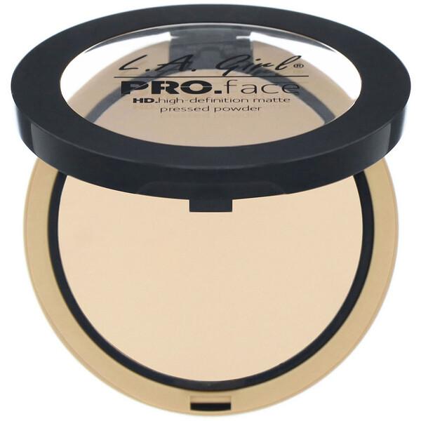 L.A. Girl, Polvo compacto mate Pro.Face HD, Crema natural, 7 g (0,25 oz)