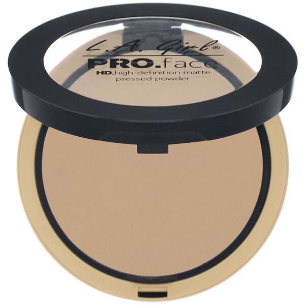 L.A. Girl, Pro Face 專業高清啞光面部粉餅,中米色,0.25 盎司(7 克)