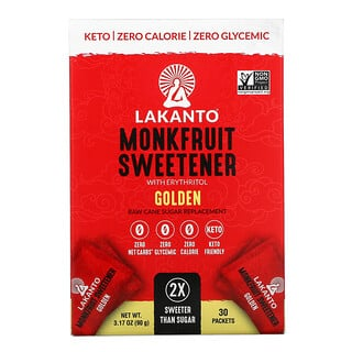 Lakanto, Monkfruit Sweetener with Erythritol, Golden, 30 Packets