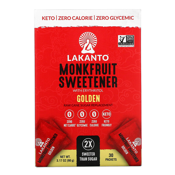 Monkfruit Sweetener with Erythritol, Golden, 30 Packets