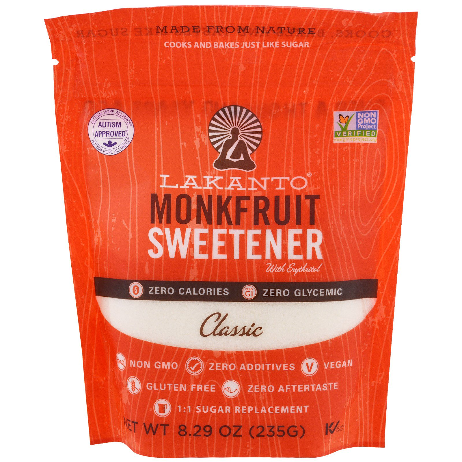 Lakanto, Monkfruit Sweetener with Erythritol, Classic, 8.29 oz (235g)