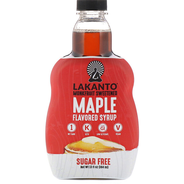 Lakanto, Monkfruit Sweetened Maple Flavored Syrup, 13 fl oz (384 ml)