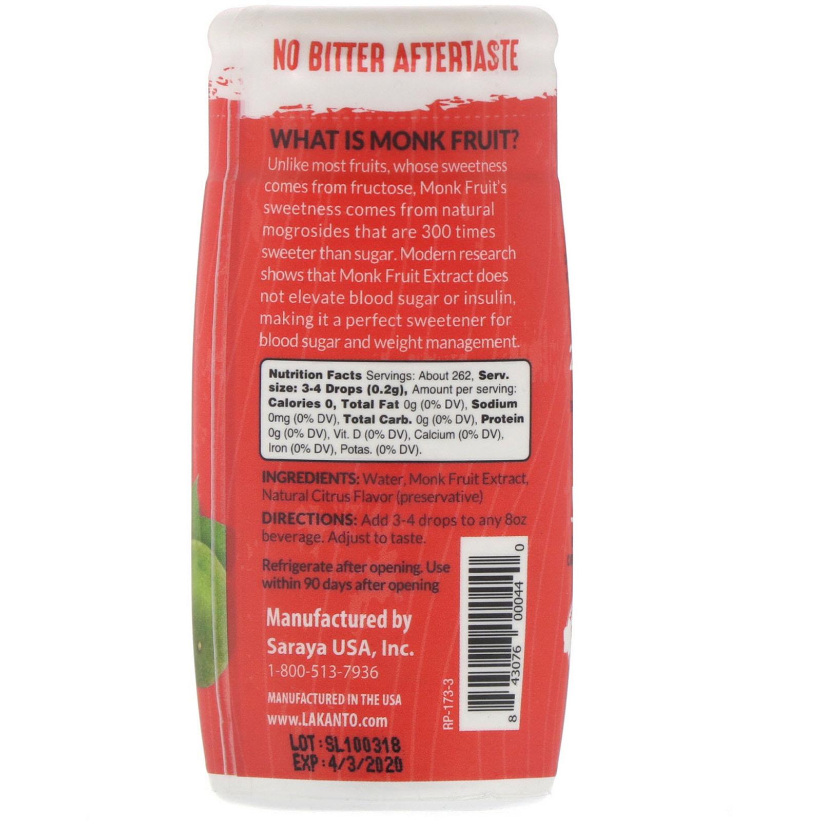 Lakanto, Liquid Monkfruit Extract Drops
