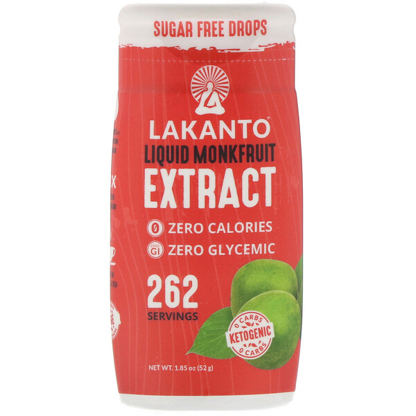 Lakanto, Liquid Monk Fruit Extrack Drops, 1.85 oz (52 g)