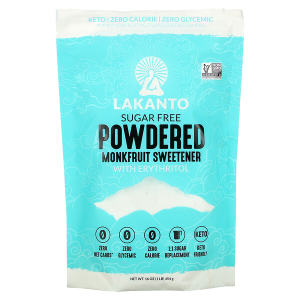 Lakanto, Powdered Monkfruit Sweetener with Erythritol, Sugar Free, 1 lb (454 g)