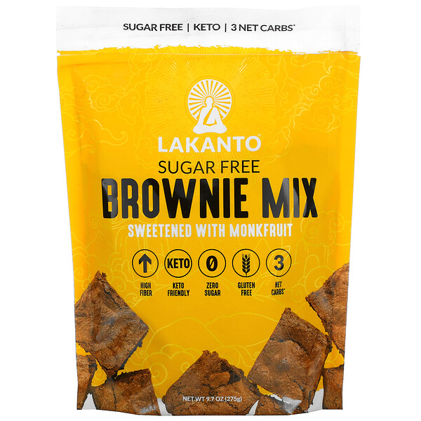 Lakanto, Brownie Mix, Sweetened with Monkfruit, Sugar Free, 9.7 oz (275 g)