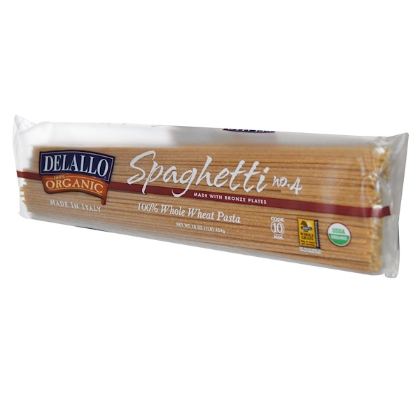 DeLallo, Spaghetti No. 4, %100 Organic Whole Wheat Pasta, 16 oz (454 g) (Discontinued Item)
