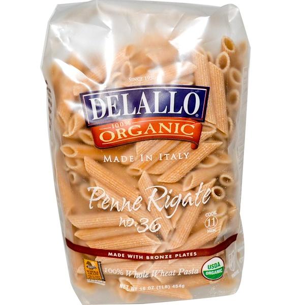DeLallo, Penne Rigate № 36, 100% цельнозерновые макаронные изделия, 16 унций (454 г)