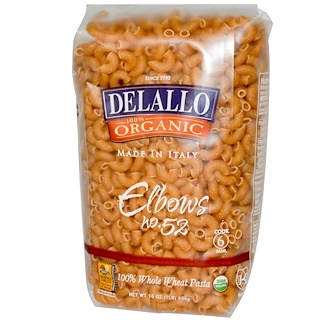DeLallo, Elbows No. 52, 100% Organic Whole Wheat Pasta, 16 oz (454 g)