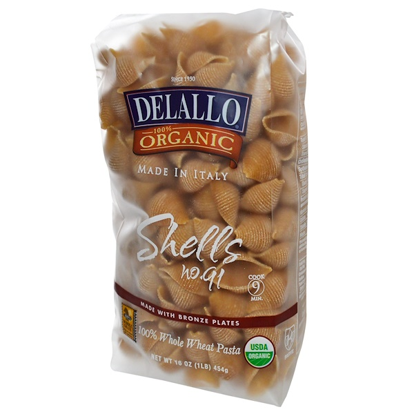 DeLallo, Shells No. 91, 100% Organic Whole Wheat Pasta, 16 oz (454 g)