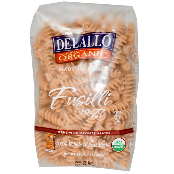 DeLallo, Fusilli No. 27, 100% Organic Whole Wheat Pasta, 16 oz (454 g)