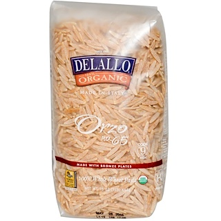 DeLallo, Orzo No. 65, 100% Organic Whole Wheat Pasta, 16 oz (454 g)