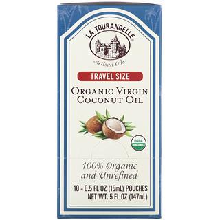 La Tourangelle, Travel Size, Organic Virgin Coconut Oil, 10 Pouches, 0.5 fl oz (15 ml) Each