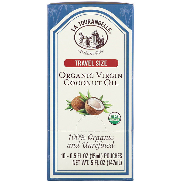 La Tourangelle, Travel Size, Organic Virgin Coconut Oil, 10 Pouches, 0.5 fl oz (15 ml) Each