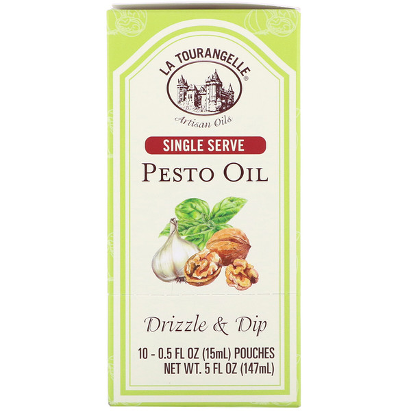 La Tourangelle, Drizzle & Dip, Pesto Oil, 10 Pouches, 0.5 fl oz (15 ml) Each