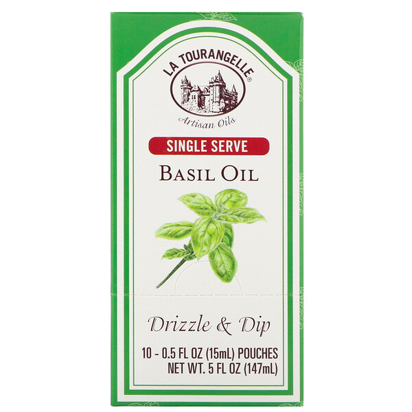 La Tourangelle, Drizzle & Dip, Basil Oil, 10 Pouches, 0.5 fl oz (15 ml) Each (Discontinued Item)