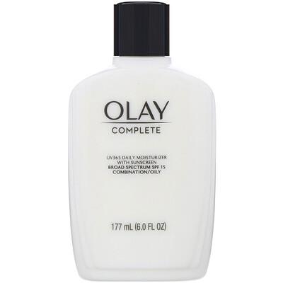 Купить Olay Complete, UV365, дневное увлажняющее средство с солнцезащитными фильтрами, SPF15, для жирной кожи, 177мл (6унций)
