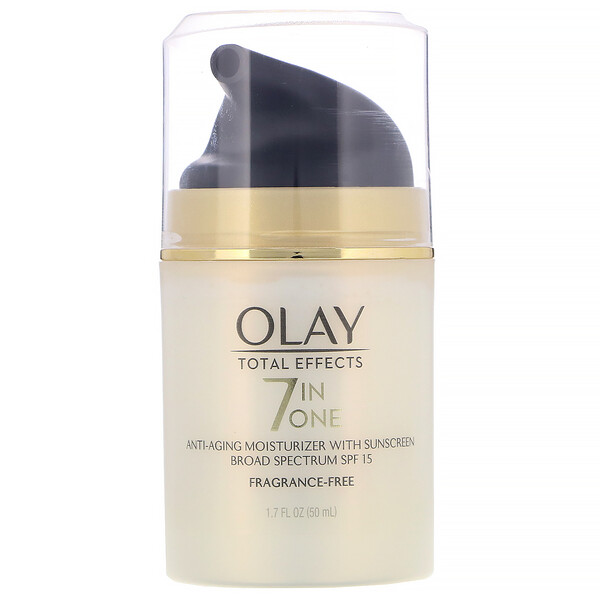 Olay, Total Effects, 7-in-One Anti-Aging Moisturizer with Sunscreen, SPF 15, Fragrance-Free, 1.7 fl oz (50 ml) (Discontinued Item)