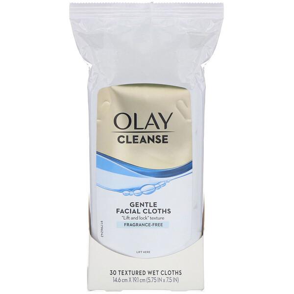 Olay, Cleanse, Paños de limpieza facial suaves, Sin fragancia, 30paños húmedos texturados