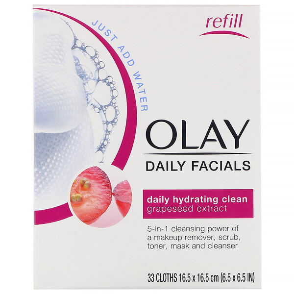 Olay, Daily Hydrating Clean, 5-in-1 Cleansing Cloth Refill, 33 Cloths