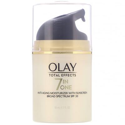 Купить Olay Total Effects, 7-in-One Anti-Aging Moisturizer with Sunscreen, SPF 30, 1.7 fl oz (50 ml)