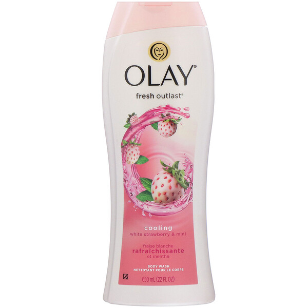 Olay, Fresh Outlast Body Wash, Cooling White Strawberry & Mint, 22 fl oz (650 ml)