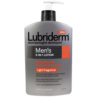Lubriderm, Men's 3-In-1 Lotion, Body, Face & Post-Shave Lotion, 16 fl oz (473 ml)