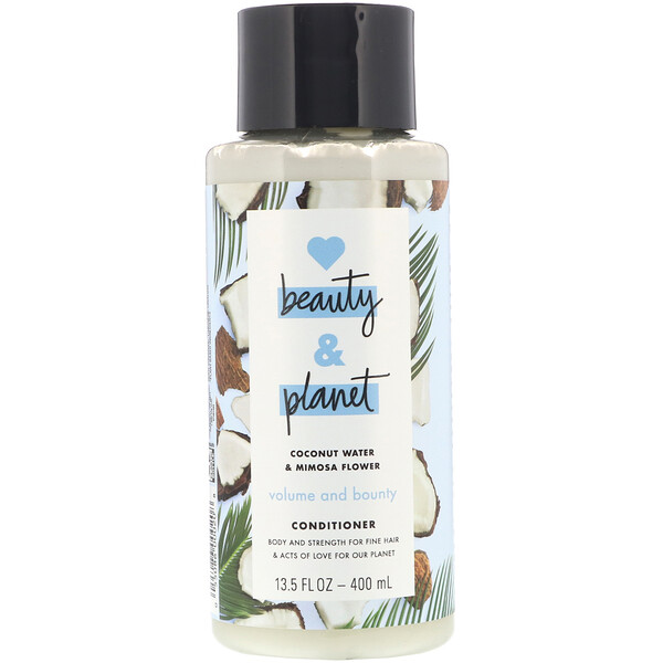 Love Beauty and Planet, Volume and Bounty, Après-shampooing, Eau de noix de coco & fleur de mimosa, 400 ml