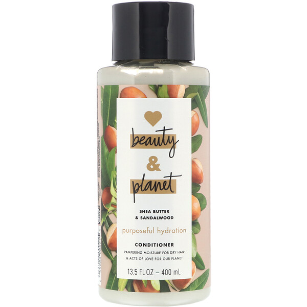 Love Beauty and Planet, Acondicionador, Hidratación concentrada, Purposeful Hydration, Manteca de karité y sándalo, 400 ml (13,5 oz. líq.)