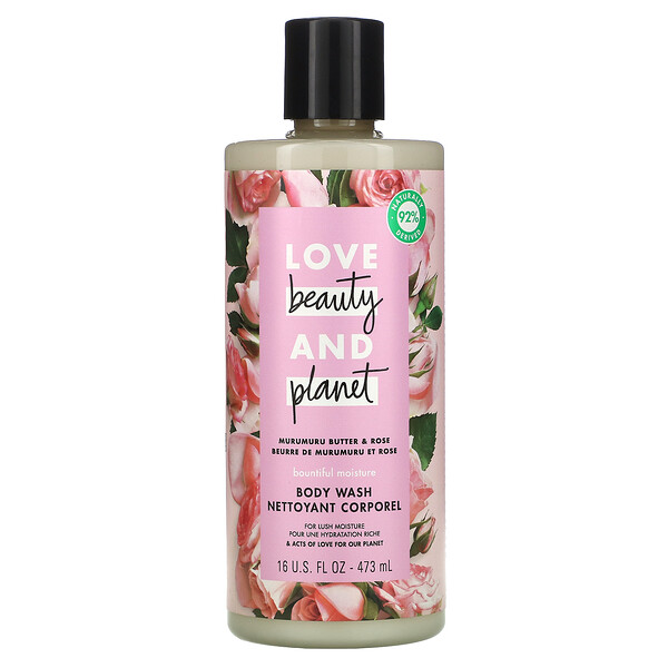 Love Beauty and Planet, Rosée hydratante, Gel douche, Beurre de murumuru & rose, 473 ml