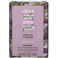 Love Beauty and Planet, Relaxing Rain,塊皂,摩洛哥堅果油和薰衣花草,7 盎司(198 克)
