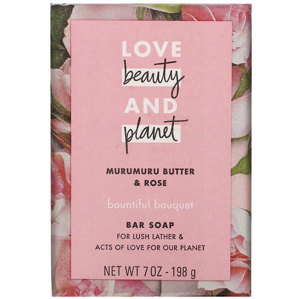 Love Beauty and Planet, Bountiful Bouquet,塊皂,星實櫚油和玫瑰,7 盎司(198 克)