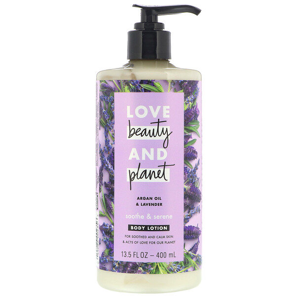 Love Beauty and Planet, Soothe & Serene Body Lotion, Argan Oil & Lavender, 13.5 fl oz (400 ml)